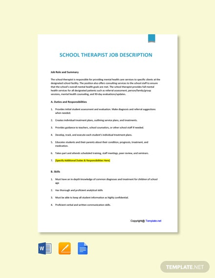 Free School Therapist Job Ad/Description Template