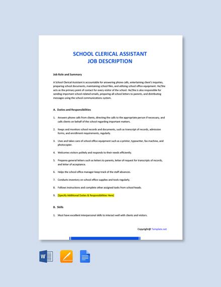 Free School Clerical Assistant Job Description Template