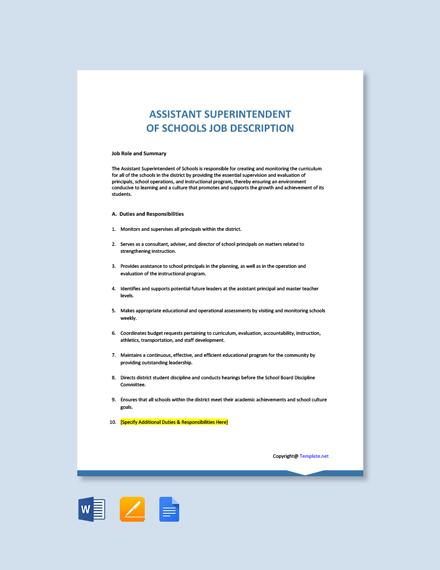 Free Assistant Superintendent of Schools Job Description Template
