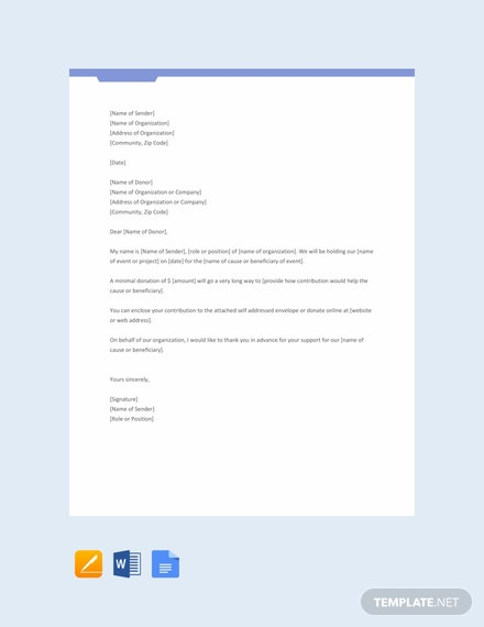 Free Printable Donation Request Letter Template