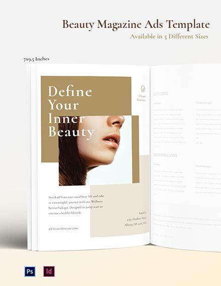 Free Beauty Magazine Ads Template