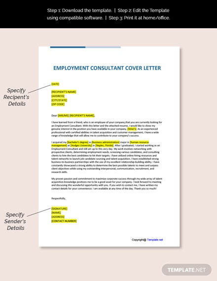 Employment Consultant Cover Letter Template
