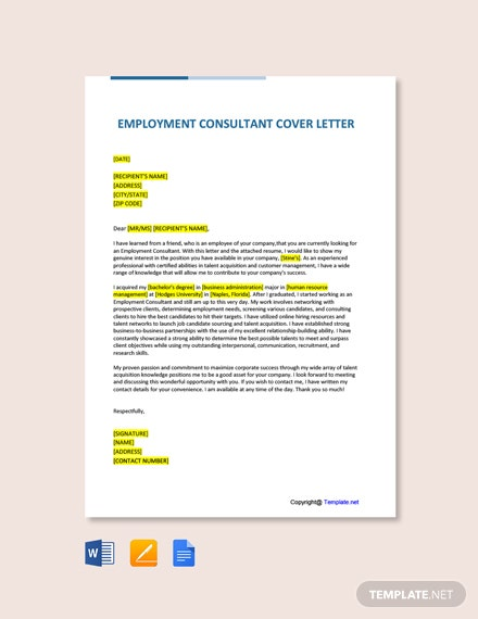 Free Employment Consultant Cover Letter Template