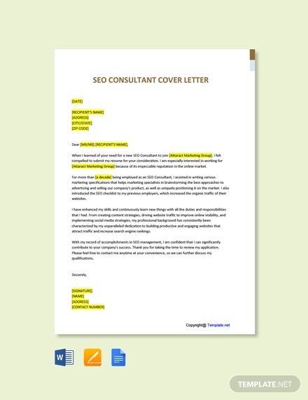 Free SEO Consultant Cover Letter Template