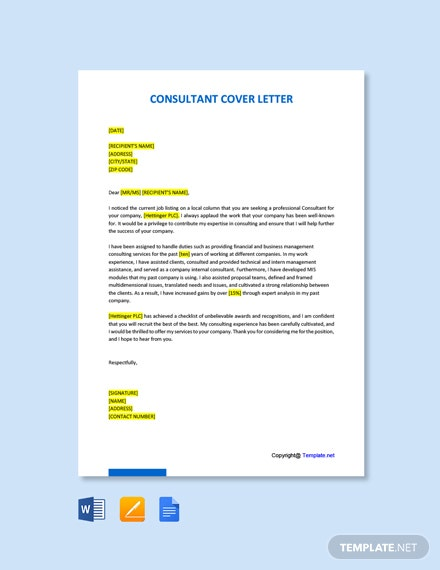 Free Consultant Cover Letter Template