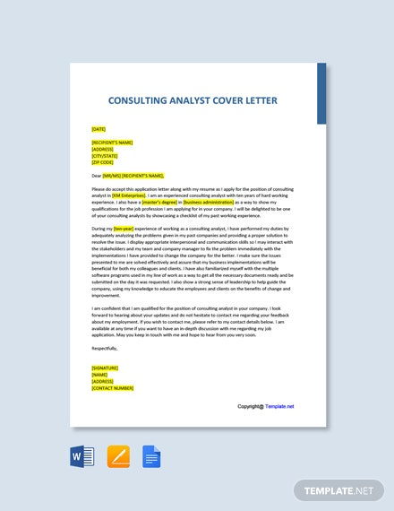 Free Consulting Analyst Cover Letter Template