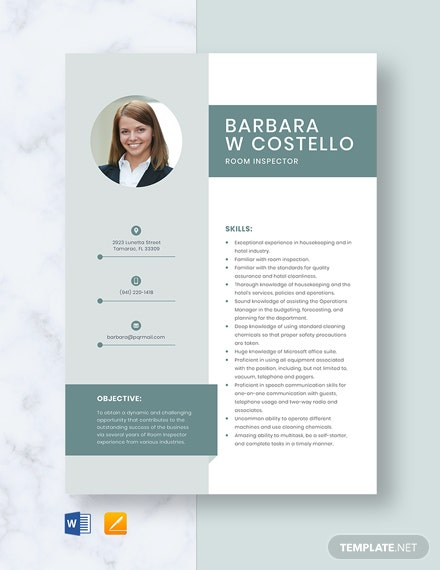 Room Inspector Resume Template