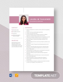 Room Service Supervisor Resume Template