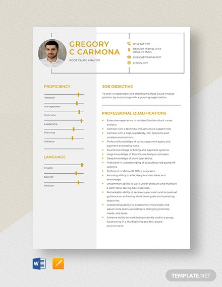 Root Cause Analyst Resume Template