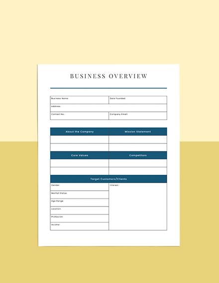Business Financial Planner Format