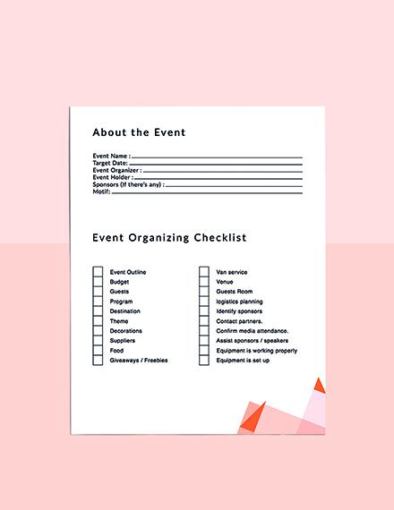 Event Schedule Planner template Format
