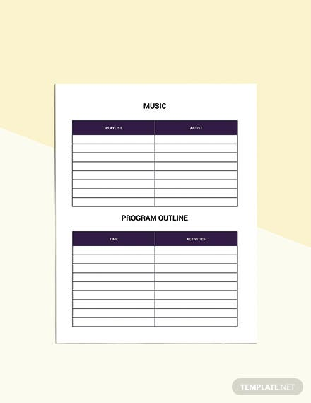 Event Party Planner template Editable