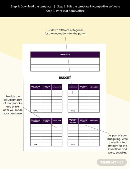Event Party Planner template Printable