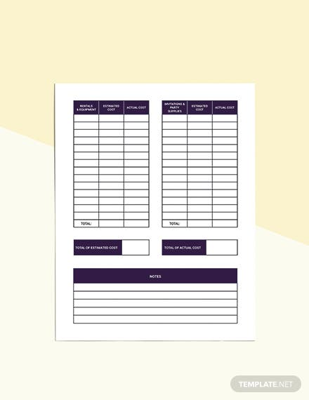 Event Party Planner template Sample