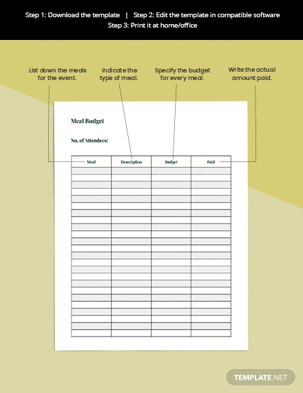 Event Meal Planner Printable