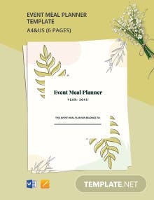 Event Meal Planner Template