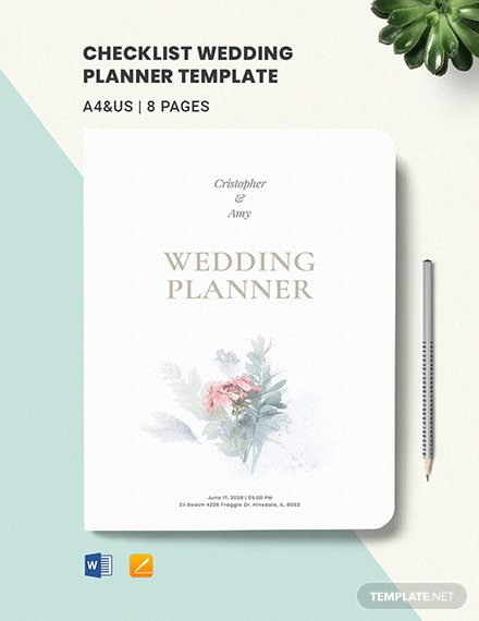 Checklist Wedding Planner Template