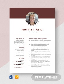 Recreation Worker Resume Template
