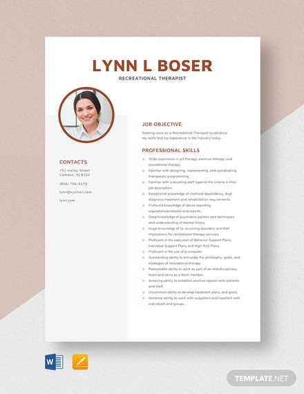 Recreational Therapist Resume Template