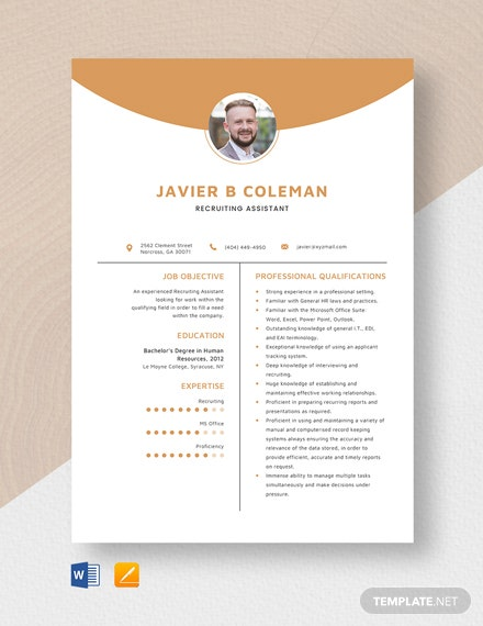 Recruiting Assistant Resume