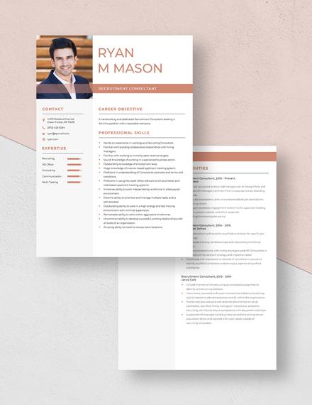 Recruitment Consultant Resume Download