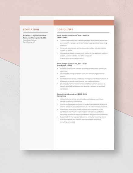 Recruitment Consultant Resume Template