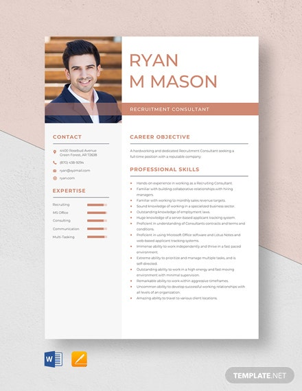 Recruitment Consultant Resume Template