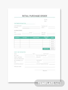 Retail Purchase Order Template