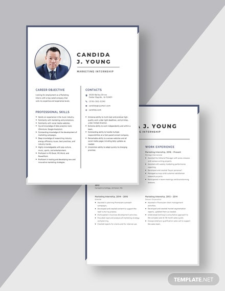 Marketing Internship Resume Download