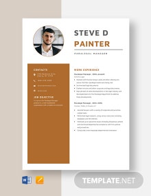 Paralegal Manager Resume Template