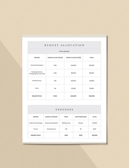 Wedding Reception Planner Format
