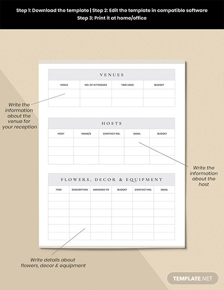 Wedding Reception Planner Example