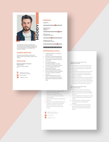 Health Care Technician Resume Download