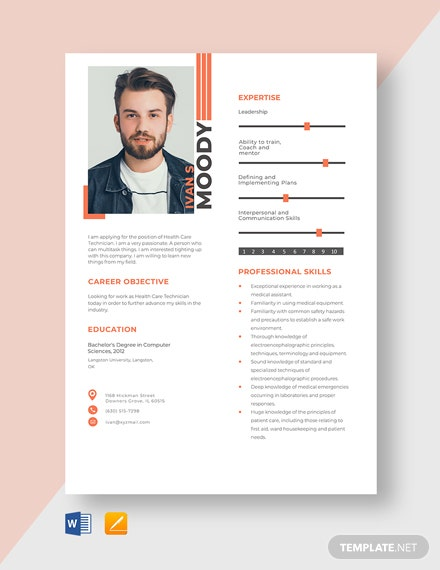Health Care Technician Resume Template