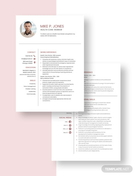 Health Care Worker Resume Download