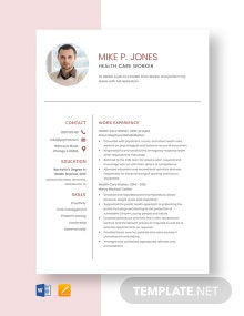 Health Care Worker Resume Template