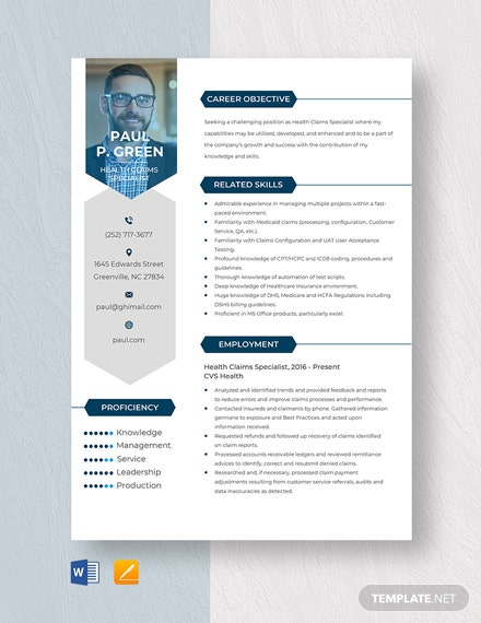 Health Claims Specialist Resume Template