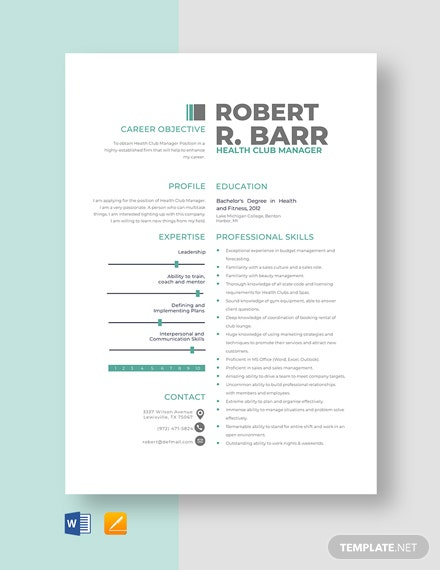 Health Club Manager Resume Template