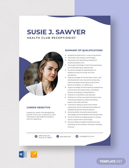 Health Club Receptionist Resume Template