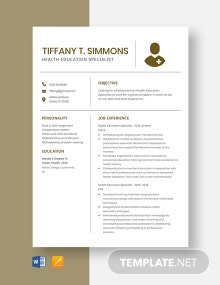 Health Education Specialist Resume Template