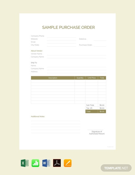 Free Sample Purchase Order Template