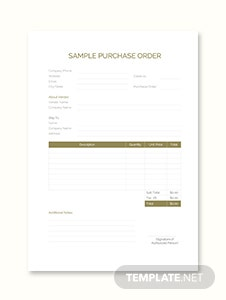 Sample Purchase Order Template