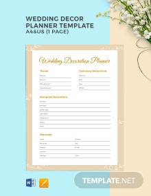 Wedding Decor Planner Template