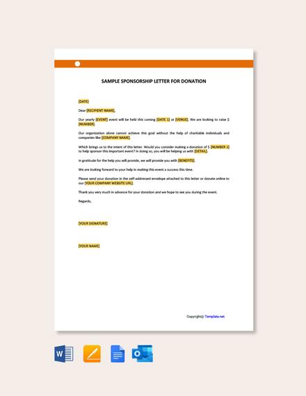 Free Sample Sponsorship Letter for Donation