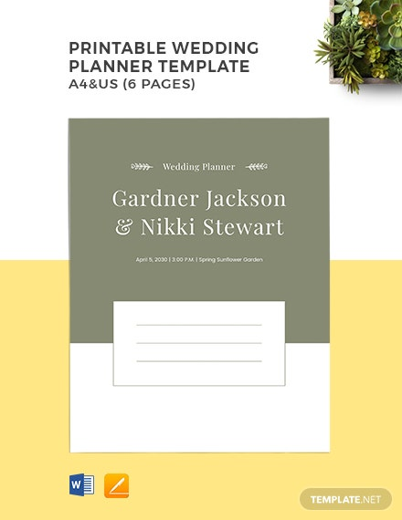 Free Printable Wedding Planner Template