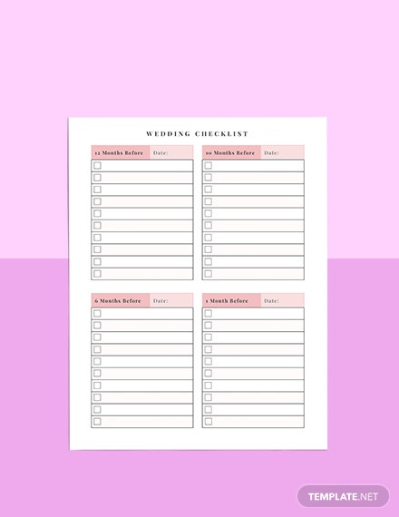 Wedding To do Planner Format