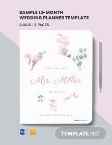 Free Sample 12-Month Wedding Planner Template