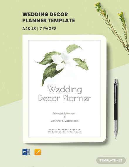 Free Simple Wedding Decor Planner Template