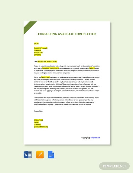 Free Consulting Associate Cover Letter Template