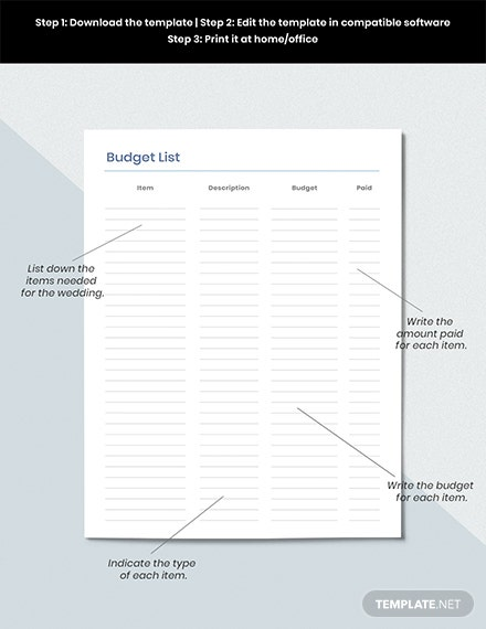 Wedding To do Planner Example